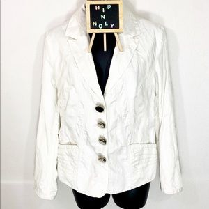 CHICO'S Crinkled Snap Down Jacket Off White Size 0